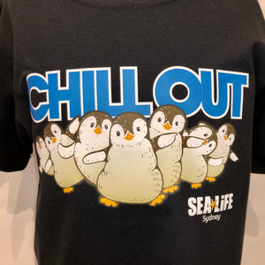 SEA LIFE Sydney Chill Out Penguin Kids t-shirt Black