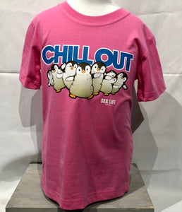 SEA LIFE Sydney Chill Out Penguin Kids t-shirt Pink