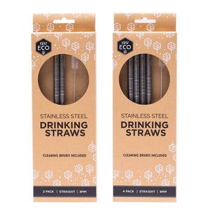Ever Eco Stainless Steel Straws Straight with Cleaning Brush