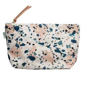 Terrazzo Blue Peach II™: Cotton Canvas Make-up Bag & Cosmetics Bag