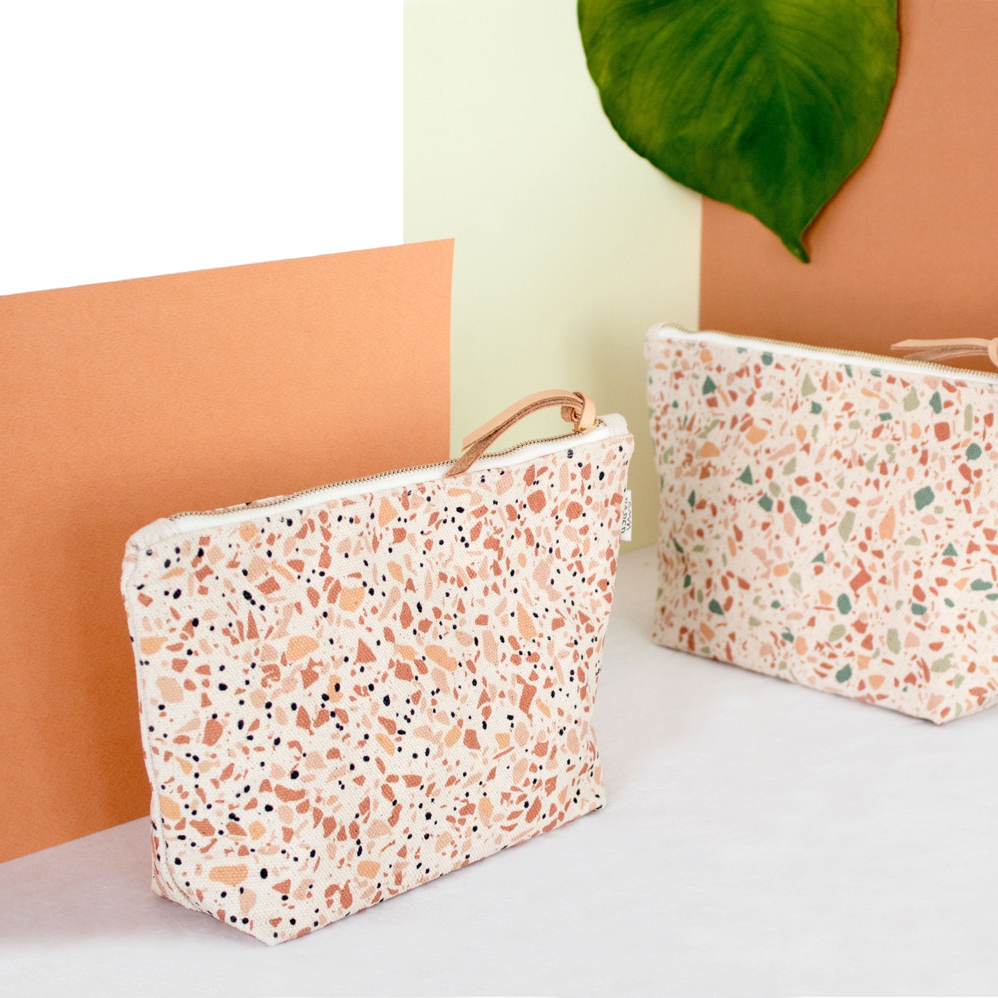 Terrazzo Terracotta™: Cotton Canvas Make-up Bag & Cosmetics Bag