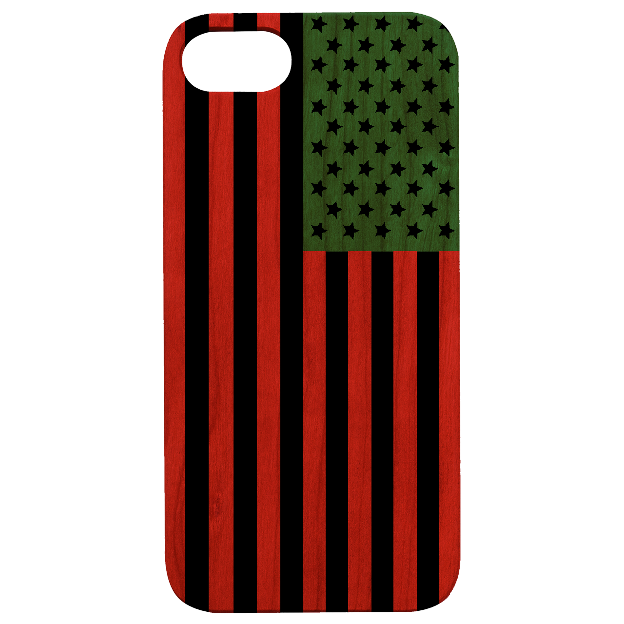 Otto™ Case Afro America Flag - Wooden Engraved & UV Color Print