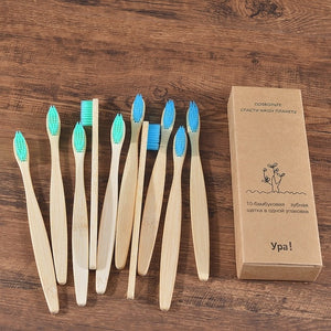 Biodegradable Toothbrushes™: 10Pcs Colorful Bristles Natural Bamboo Toothbrush Set