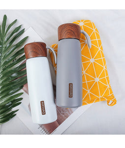 Delicia™ Vacuum Flask: 500ml Outdoor Thermos Wooden Lid Water Bottle