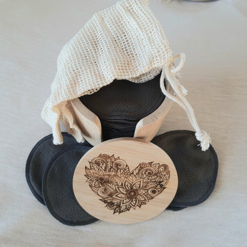 Laser  Engraved Love heart and Bamboo fibre  make up pads with laundry bag - bamboomamboo europe