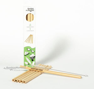 6 Bamboo Straws with cleaner (6 pieces). - bamboomamboo europe