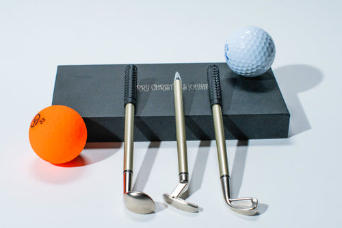 !!Awesome 3 Golf Club Pen Set in gift box ( BLACK INK )   ( your text engraving can be made on the box only ) - bamboomamboo europe