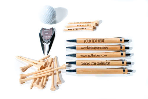 Combination, 200 bamboo tees, 1 pro Divot tool and 5 Bamboo pens, all laser engraved with your required text - bamboomamboo europe