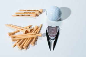 COMBINATION  BAMBOO GOLF TEES AND  DIVOT TOOL  WITH 80 TEES - bamboomamboo europe