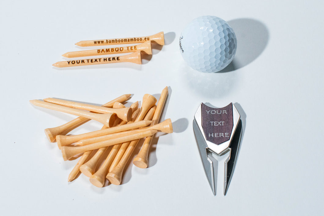 COMBINATION  BAMBOO GOLF TEES AND  DIVOT TOOL  WITH 200 TEES - bamboomamboo europe