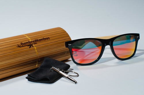 Bamboo GOLF  SKI  or  BEACH  Sunglasses | Polarized UV400 | 1205m-10 Orange Lens  Personalised laser engraving on one arm (max 50 letters or numbers) - bamboomamboo europe
