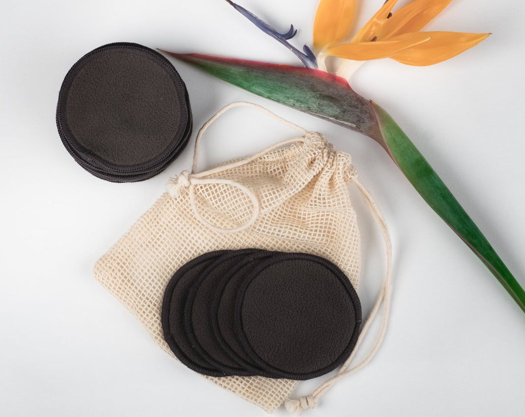 16 BLACK BAMBOO FIBRE MAKE UP REMOVER PADS  WITH MINI LAUNDRY BAG - bamboomamboo europe