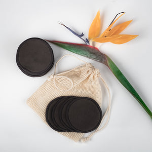 FLOWER DESIGN   20 Bamboo mamboo black cotton/ bamboo makeup remover pads - bamboomamboo europe