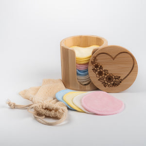 Laser  Engraved Love heart and bLACK or COLOURED  Bamboo/Cotton make up remover pads with laundry bag - bamboomamboo europe