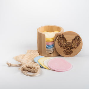 Laser  Engraved OWL and Black or Coloured   Bamboo/Cotton make up remover pads with laundry bag - bamboomamboo europe