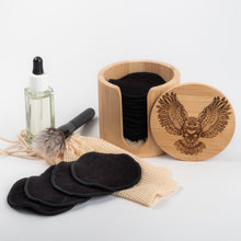 Load image into Gallery viewer, Laser  Engraved OWL and Black or Coloured   Bamboo/Cotton make up remover pads with laundry bag - bamboomamboo europe