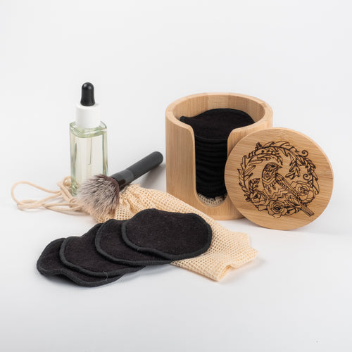 LASER   Engraved  BIRD AND FLORAL DESIGN  and 20 Black or Coloured Bamboo/Cotton  fibre  make up pads with laundry bag - bamboomamboo europe
