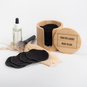 LASER ENGRAVED TEXT  20 Black or Coloured  Bamboo/Cotton makeup remover pads and laundry bag - bamboomamboo europe