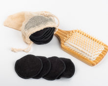 Load image into Gallery viewer, 16 BLACK BAMBOO FIBRE MAKE UP REMOVER PADS  WITH MINI LAUNDRY BAG  FREE DELIVERY - bamboomamboo europe