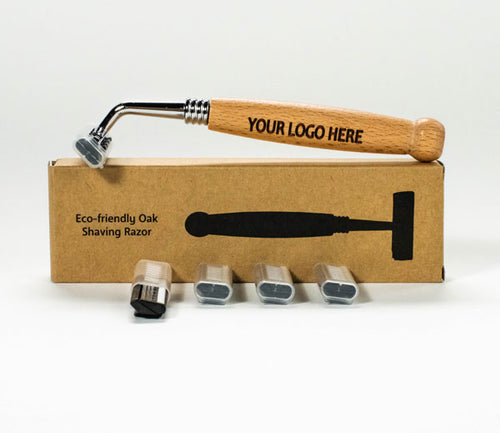 Eco-Friendly Razors (3 pieces) with Oak Handles and 12 Replacement Heads. - bamboomamboo europe