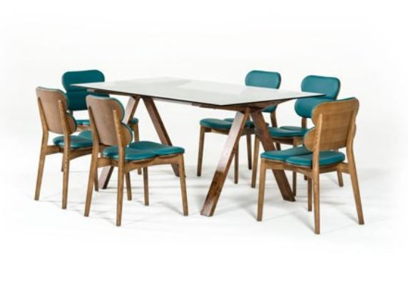 Modern Turquoise & Walnut Dining Chair (Set of 6)