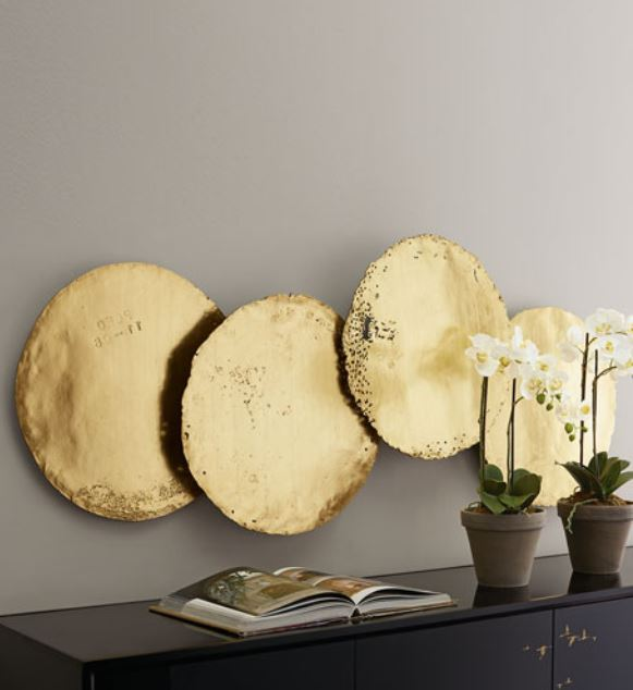 Galvanized Gold Leaf Round Resin Wall Disc Sculptures - Set of 4