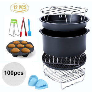 12pcs Air Fryer Accessories  Fit all 3.2QT - 5.8QT Power Deep Hot Air Fryer Pizza Plate Grill Pot Kitchen Cooking Tool for Party