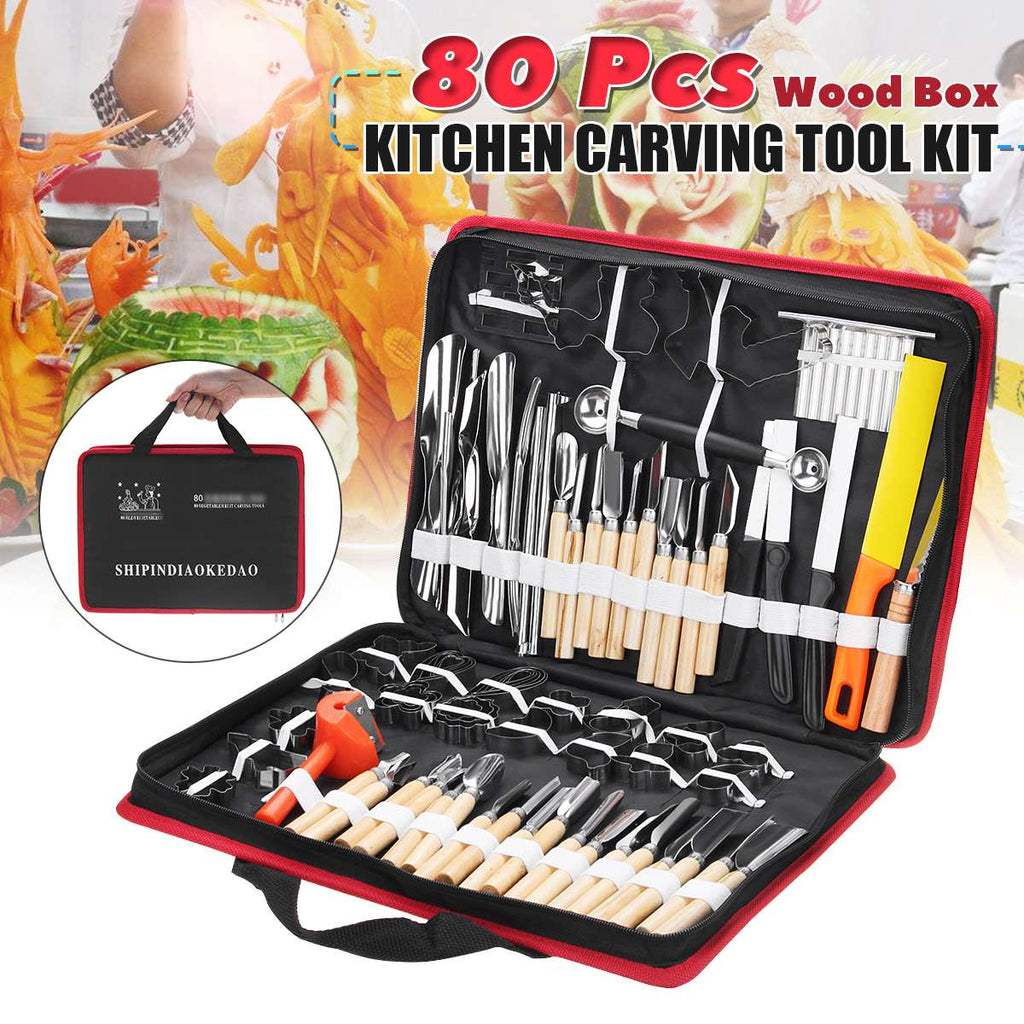 80 In 1 Portable Kitchen Carving Cutter Tool Sets  Food Fruit Carving Knife Sculpture Carving Tool with Storage Bag
