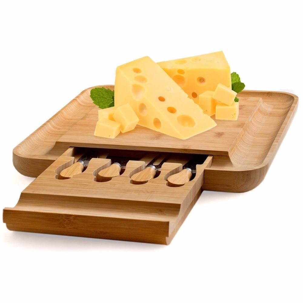 Bamboo Cheese Board with Cutlery Wood Charcuterie Platter Serving Meat Board with Slide-Out Drawer with 4 knife A9269