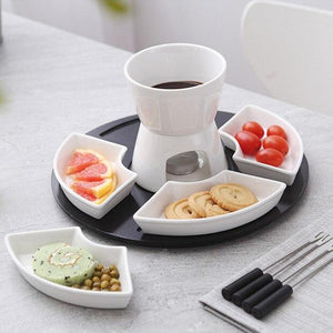 Ceramic fondue serving set for cheese  chocolate  icecream diy fondue