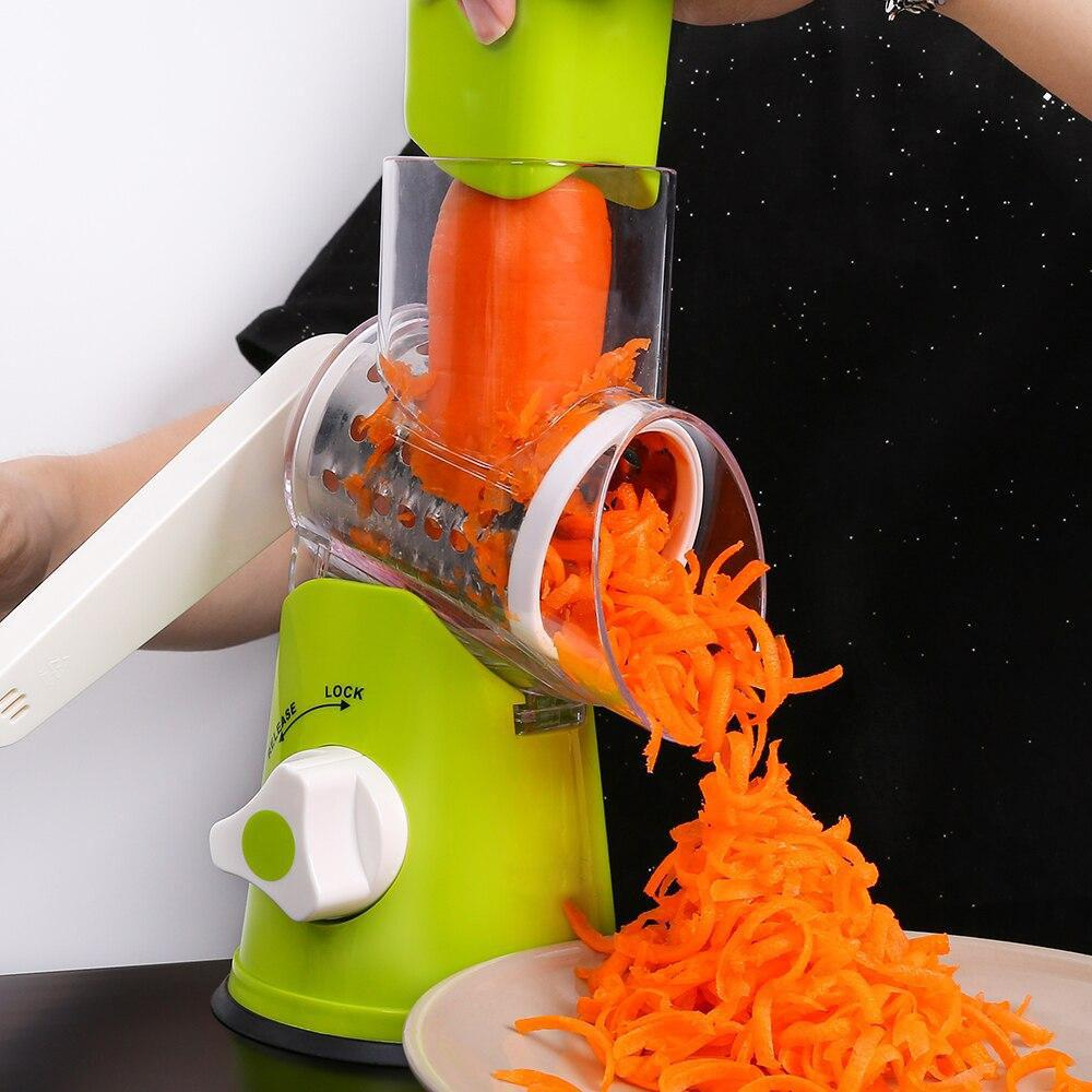 Manual  Mandoline Cutter Multifunctional Rotary Potato Cheese Slicer Grain Grinding Grinder Kitchen Tool 3 Blades
