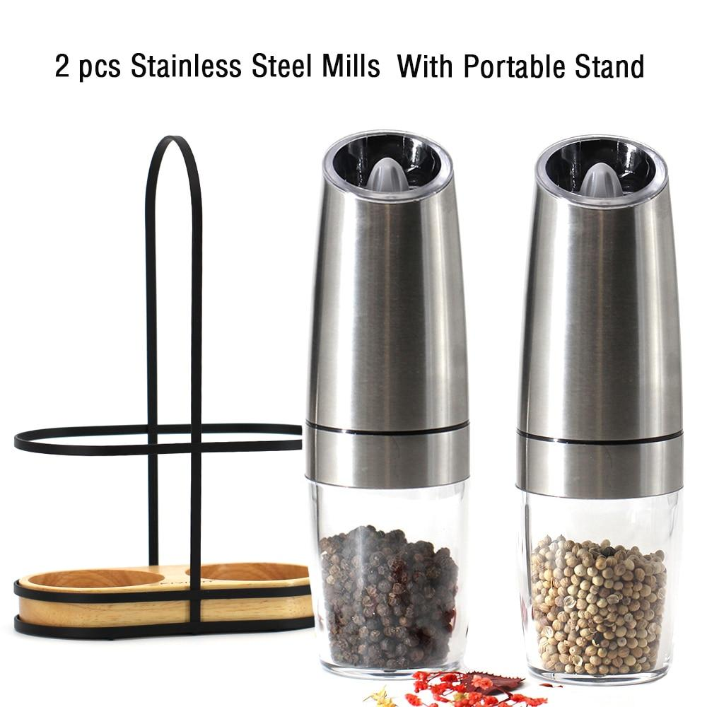 Electric Automatic Mill Pepper and Salt Grinder LED Light Peper Spice Grain Mills Porcelain Grinding Core Mill Kitchen Tools
