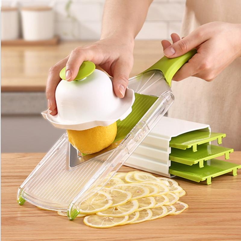 Manual Lemon Chopper  Chopper Mandoline V-Slicer Dicer With 5 Replaceable Blades Veggie Chopper Cutter Kitchen Tools