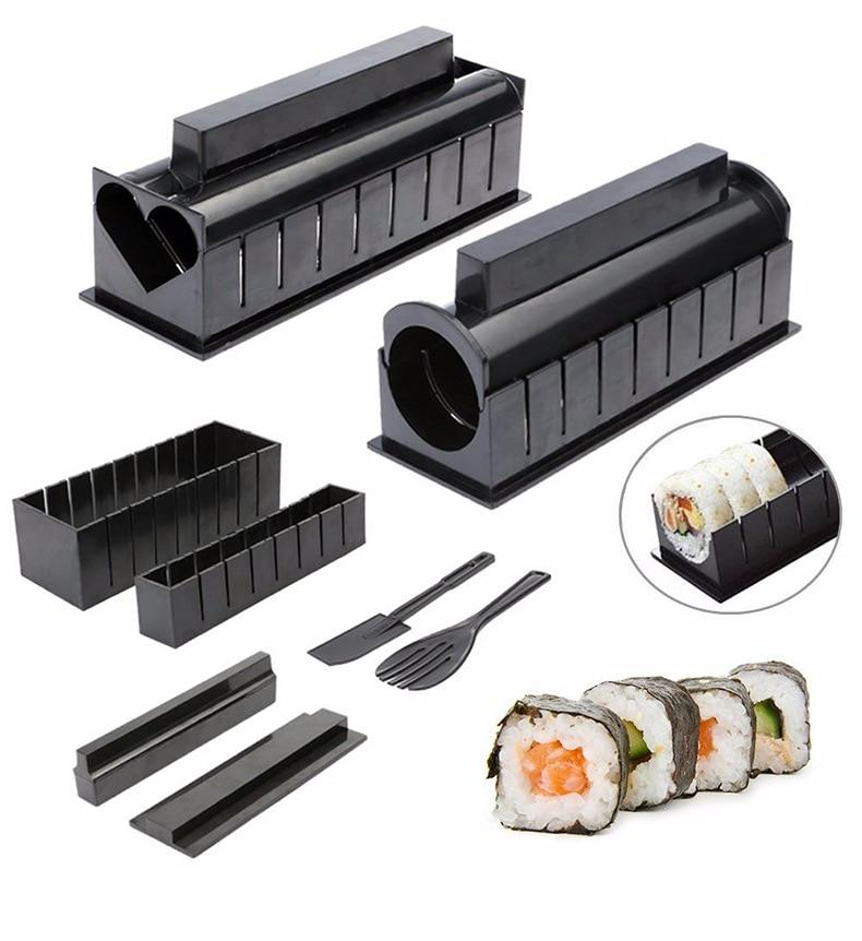 One Set DIY Sushi Making Kit Roll Sushi Maker Rice Roll Mold Kitchen Sushi Tools Japanese Sushi Cooking Tools Kitchen Tools