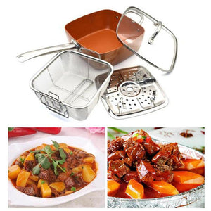 Red Copper Square Pot Set Non-stick Ceramic Frying Pan With Lid Steamer Soup Pot Kitchen Roasting Stewing Cookware