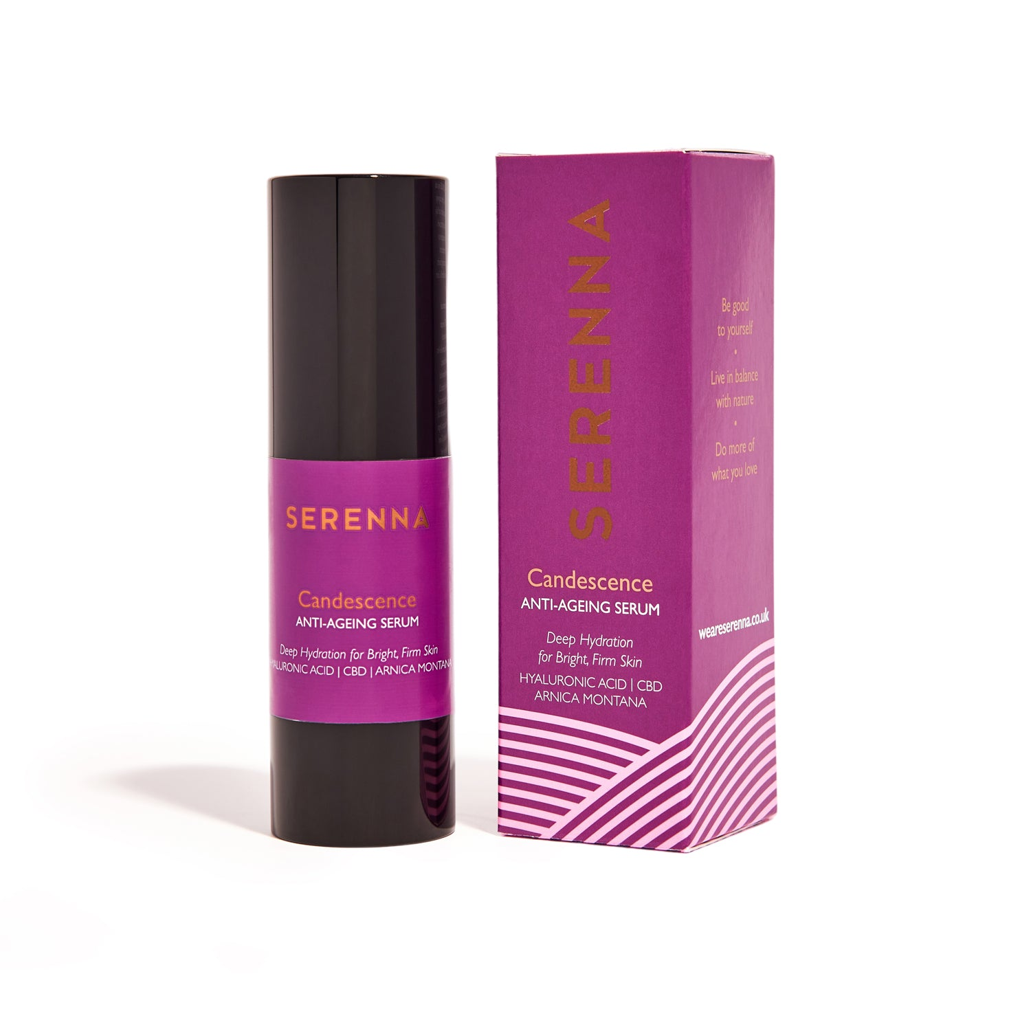 serenna, candescence face serum, vegan skincare, anti ageing