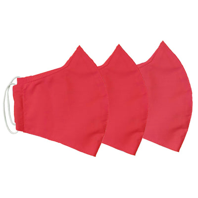 Red Pack Youth (Ages 8-14) Cotton Face Mask w/ Filter Pocket & Deodorizing Protection (Pack of 3)