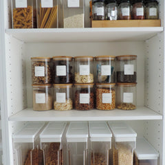Essential Pantry Labels applied to jars in pantry - The Printable Place