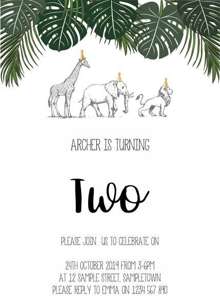 Digital birthday Invitation with Green and Gold Safari Animals. Printable. The Printable Place