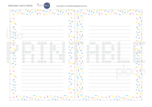Sprinkle Note paper Download - The Printable Place