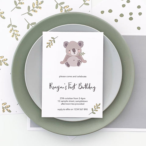 Cute Koala Invitation Printable Download | The Printable Place