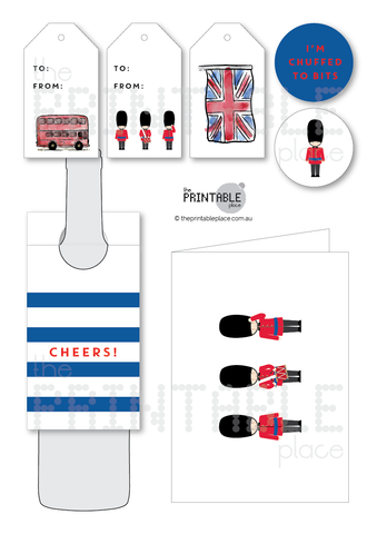 British Theme Printable Gift Set and Greeting Card
