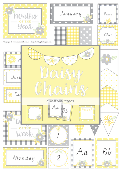 Yellow Daisy themed Classroom Decor Printable Bundle