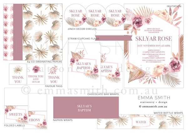 Desert Pink Floral Digital Printable Party Download | The Printable Place