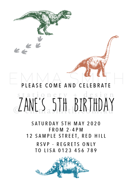 Dinosaur Themed Printable Invitation Download - The Printable Place