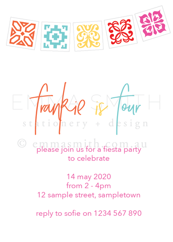 Printable Digital Fiesta invitation template | The Printable Place