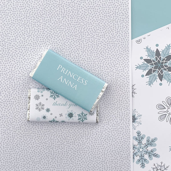 Frozen Snowflake Party Chocolate Bar Wrap Printable Download Template | The Printable Place