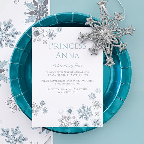 Frozen Snowflake Invitations Template Download | The Printable Place