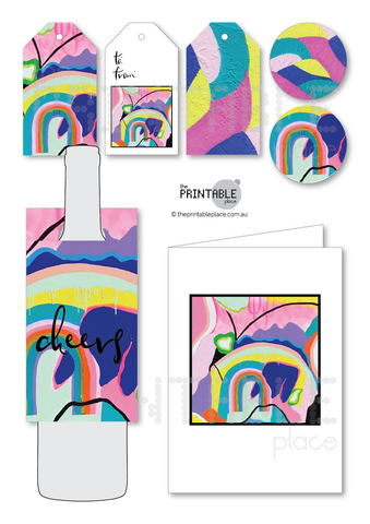Connie Krol ART x The Printable Place - Gift Set with wine label