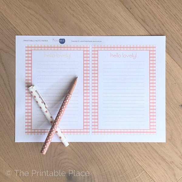 Hello Lovely Printable Note Paper - The Printable Place